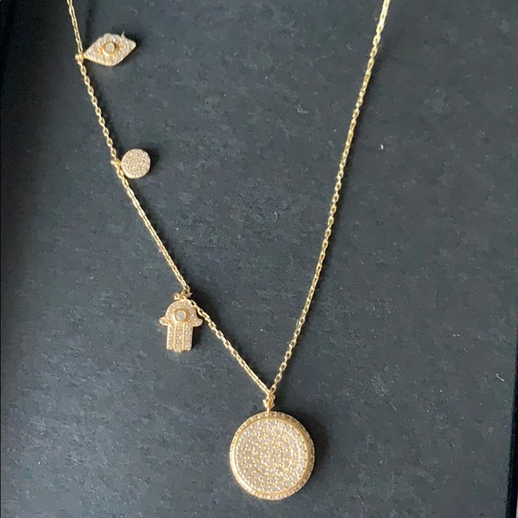 Aqua Jewelry - Sterling silver gold plated hamsa necklace